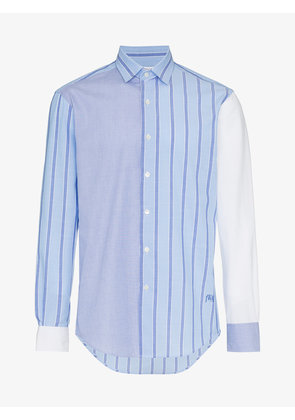 JW Anderson panelled stripe cotton long sleeve shirt