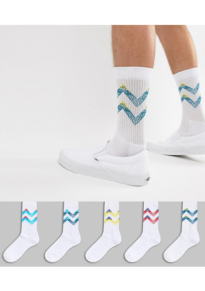 ASOS Sports Socks With Retro Chevron Stripes 5 Pack - White