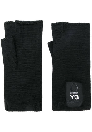 Y-3 fingerless logo gloves - Black