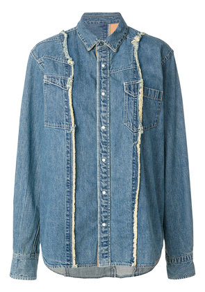 Sacai frayed seam denim shirt - Blue