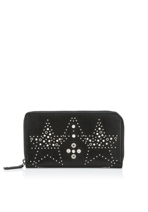 CARNABY Black Leather Travel Wallet with Graphic Star Studded Embellishment