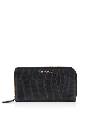 CARNABY Navy Crocodile Embossed Satin Leather Travel Wallet