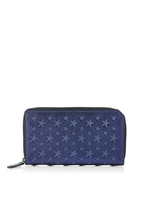 CARNABY Navy Metallic Nappa Leather Travel Wallet with Embossed Stars