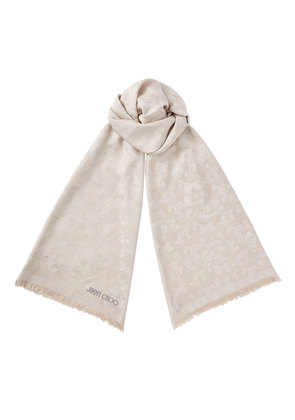 ZOEY Light Grey Silk and Modal Blend Woven Jacquard Stole