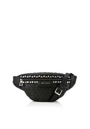 DERRY Black Grainy Leather Cross Body Bag with Embossed Stars and Multi Studs