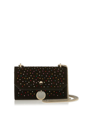 FINLEY Black Suede Cross Body Mini Bag with Scattered Crystals