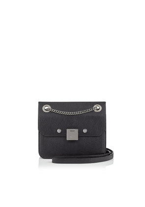 REBEL/XB Black and Gunmetal Soft Grained Goat Leather Cross Body Bag