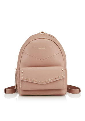 CASSIE Ballet Pink Nappa Leather Backpack with Gold Round Stud Detailing