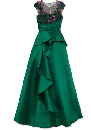 Marchesa Notte - Ruffled Mikado And Appliquéd Tulle Gown - Emerald