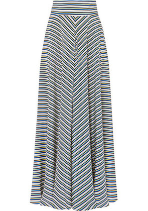 Diane von Furstenberg - Striped Silk Crepe De Chine Maxi Skirt - Blue