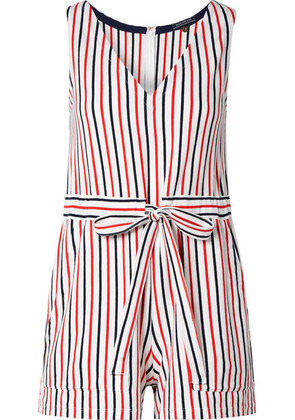 MDS Stripes - Amanda Striped Cotton-jersey Playsuit - Red