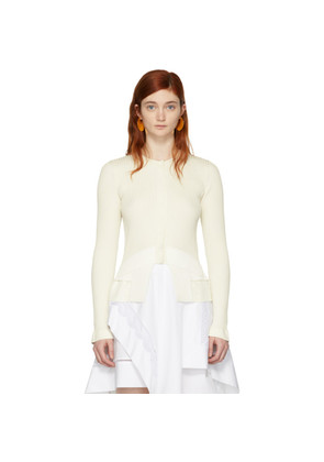 3.1 Phillip Lim White Ribbed Woven Combo Cardigan