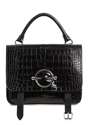 DISC SATCHEL CROC EMBOSSED LEATHER BAG