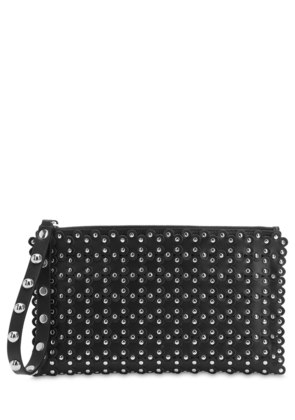 RED V PUZZLE STUDDED LEATHER CLUTCH