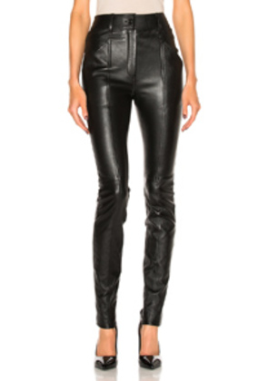 Saint Laurent Stretch Leather Leggings in Black