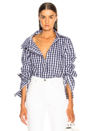 Monse Gingham Double Collar Shirt in Blue,Checkered & Plaid,White