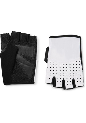 Leather And Mesh-panelled Jersey Cycling Gloves