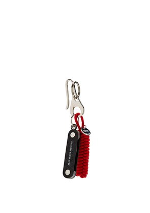 Rope and Swiss knife charm key ring
