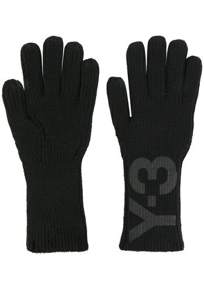 Y-3 logo print gloves - Black