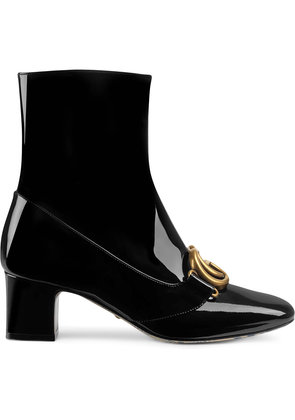 Gucci Patent leather ankle boot with Double G - Black