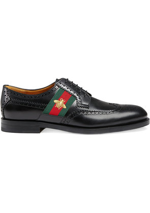 Gucci Leather lace-up with bee Web - Black