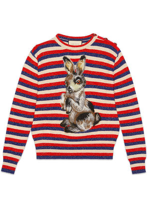 Gucci Wool lurex striped sweater with rabbit - Multicolour
