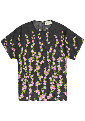 Gucci Climbing Roses print silk top - Black