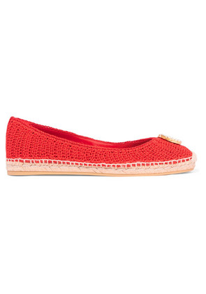 Gucci - Lilibeth Logo-embellished Crocheted Cotton Espadrilles - Red
