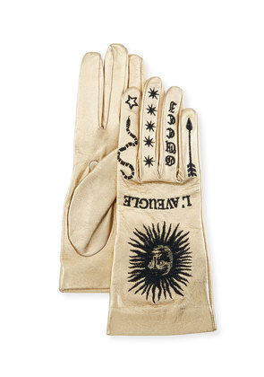 Melissa Metallic Leather Embroidered Gloves
