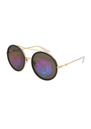 Tiger Hologram Round Sunglasses