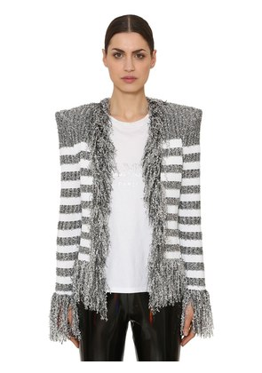 FRINGED IRIDESCENT STRIPED KNIT BLAZER