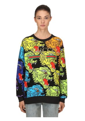 ANGRY TIGER PRINTED COTTON SWEATSHIRT