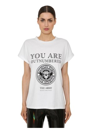 YOU ARE FLOCKED COTTON JERSEY T-SHIRT