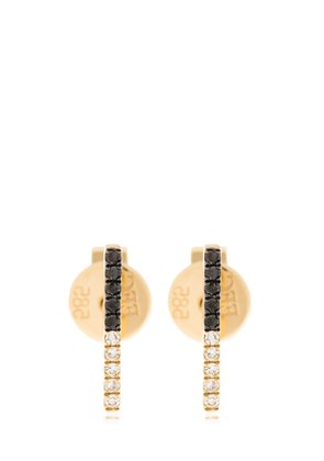 2TONE DIAMOND BAR STUD EARRINGS