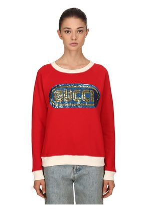 SEQUINED COTTON SWEATSHIRT