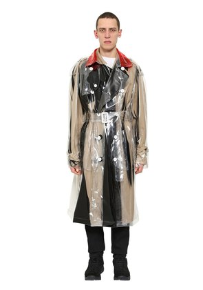 PRINTED PVC DOUBLE BREASTED TRENCH COAT