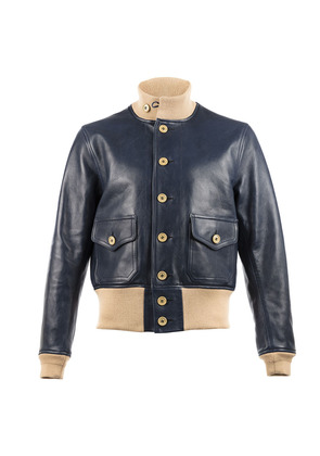Chapal Navy A1 Leather Jacket
