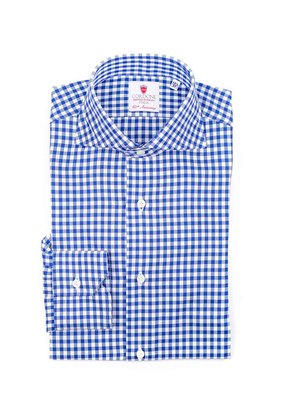 Cordone 1956 Blue and White Gingham Emperor 4 Cotton Shirt
