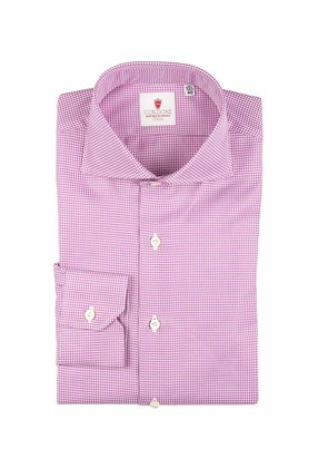 Cordone 1956 Lilac Houndstooth Galles Cotton Shirt