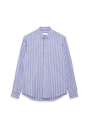 Enlist White and Blue Striped Cotton Shirt