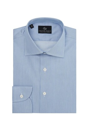 Chester Barrie Blue and White Twill Stripe Spread Collar Shirt