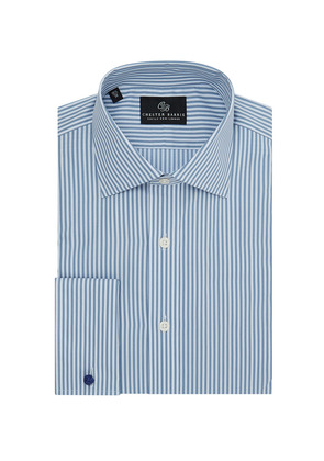 Chester Barrie Blue and White Bengal Stripe Spread Collar Cotton Shirt