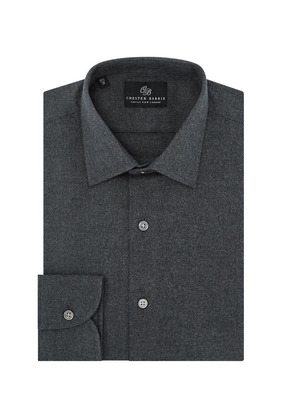 Chester Barrie Grey Spread Collar Cotton Flannel Shirt
