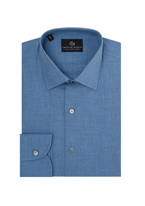 Chester Barrie Blue Point Collar Chambray Cotton Shirt