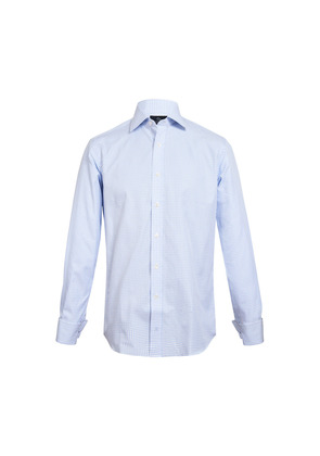 Chester Barrie Blue and White Fine Houndstooth Cotton Shirt
