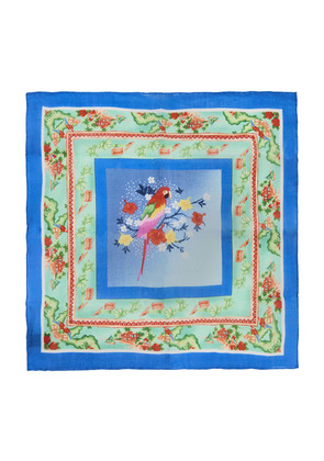 Calabrese 1924 Blue and Green Parrot Linen Pocket Square