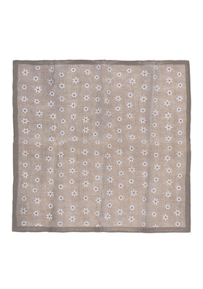 Calabrese 1924 Brown and White Daisy Linen Pocket Square