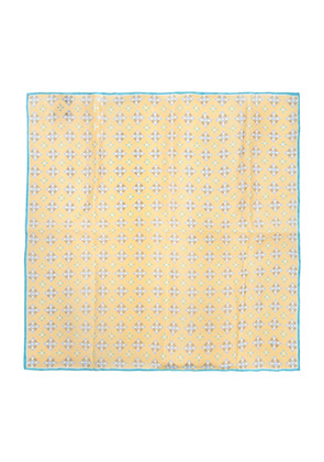 Calabrese 1924 Turquoise and Yellow Motif Linen Pocket Square