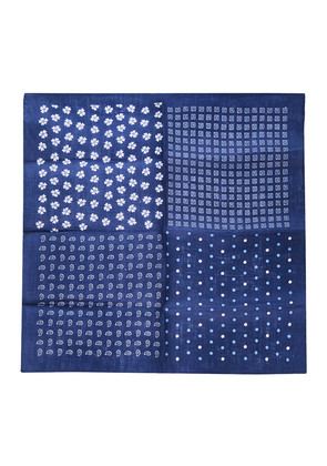 Calabrese 1924 Navy and White Four Square Linen Pocket Square