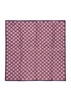 Calabrese 1924 Bordeaux and Navy Printed Linen Pocket Square
